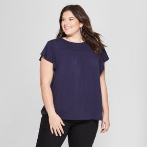 NWT Womens Plus Size Flutter 3/4 Sleeve Top